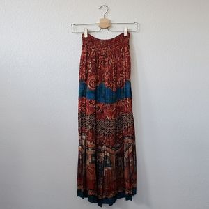 Vintage Carole Little Mosaic Long Button Skirt